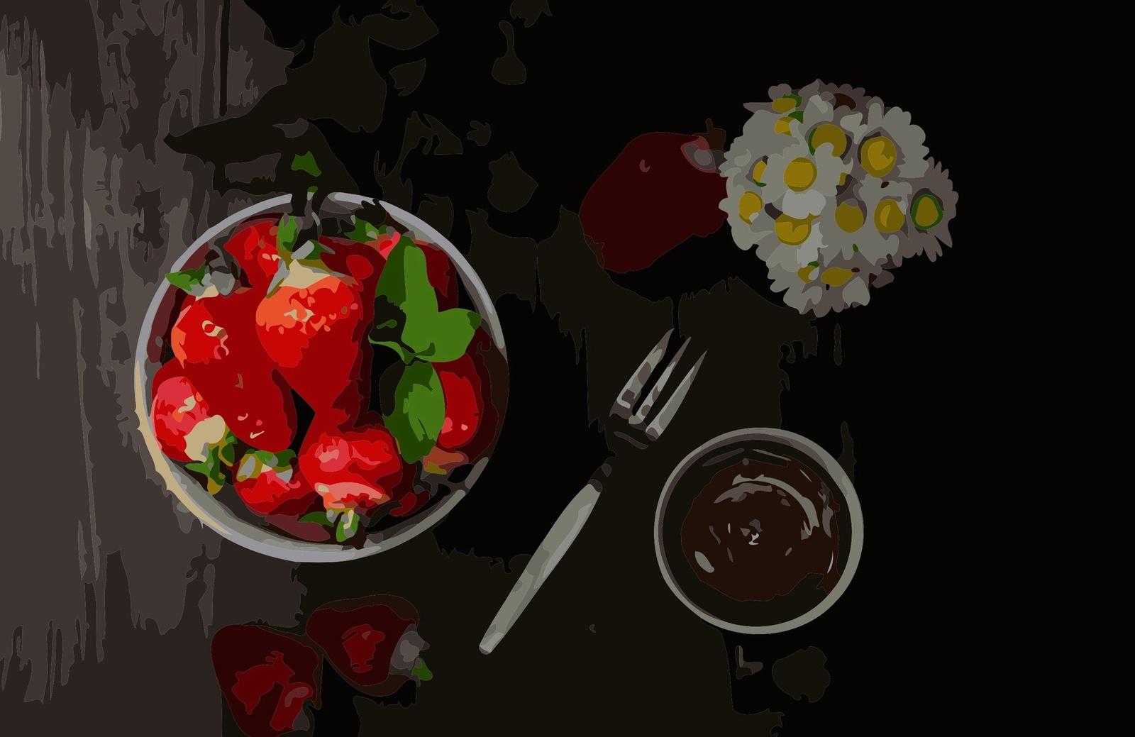 Картина по номерам ВанГогВоМне Клубника в шоколаде