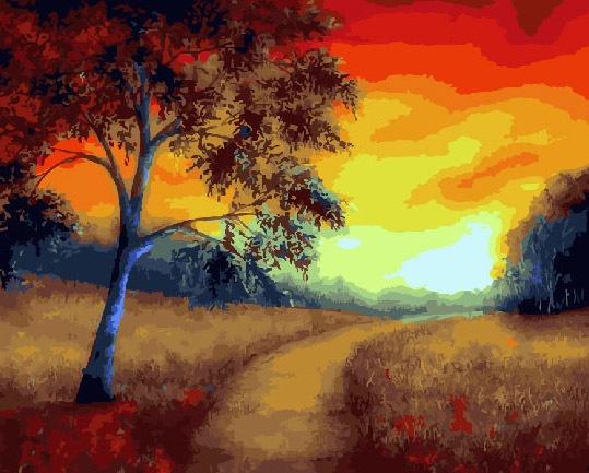 Картина по номерам ВанГогВоМне Тропинка в закат тропинка