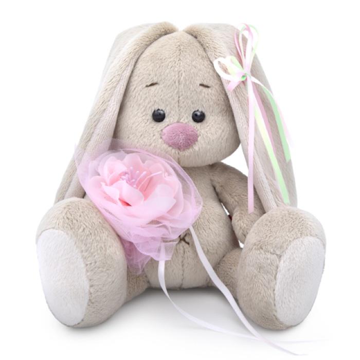 Мягкая игрушка Budi Basa Зайка Ми c розовым цветком 15 см
