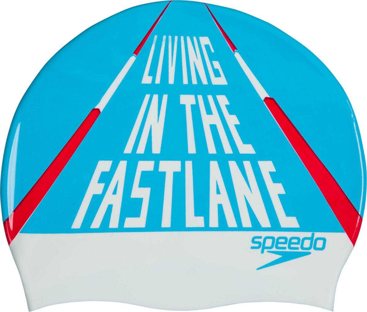 Шапочка для плавания Speedo Slogan Prt Cap Au, 8-08385C904, белый, голубой, красный