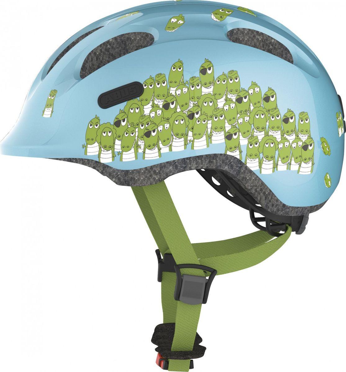 Шлем защитный Abus Smiley 2.0 Крокодилы, синий, размер S (45-50) велошлем детский abus smiley пчелы размер m 50 55