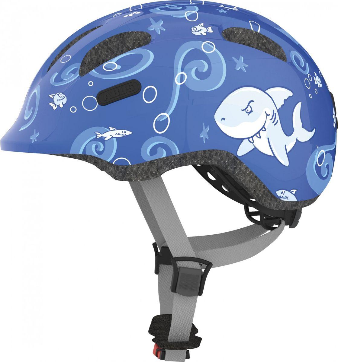 Шлем защитный Abus Smiley 2.0 Акулы, синий, размер S (45-50) велошлем детский abus smiley пчелы размер m 50 55