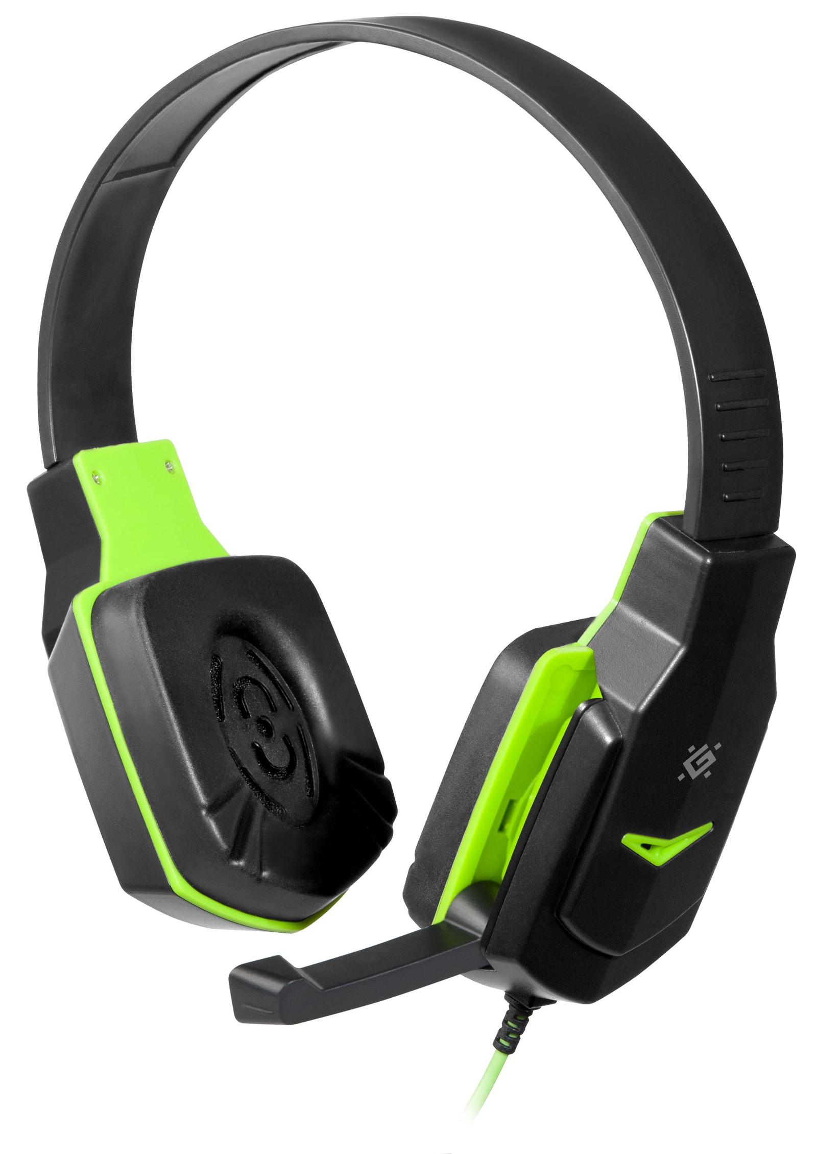 Игровые наушники Defender Warhead G-320, чёрный зелёный
