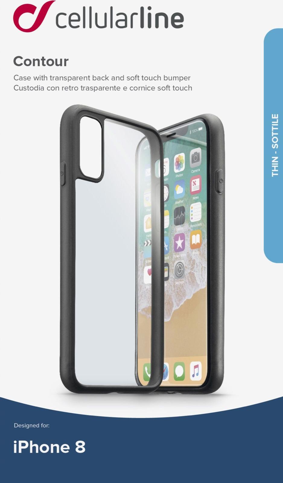 Чехол Cellularline для Apple iPhone X, CONTOURCIPH8K, черный цена