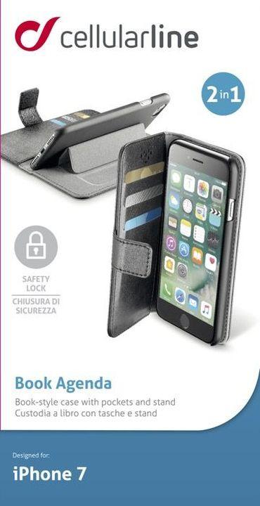 Чехол Cellularline для Apple iPhone 7/8, BOOKAGENDAIPH747K, черный чехол cellularline для apple iphone x bookagendaiph8k черный