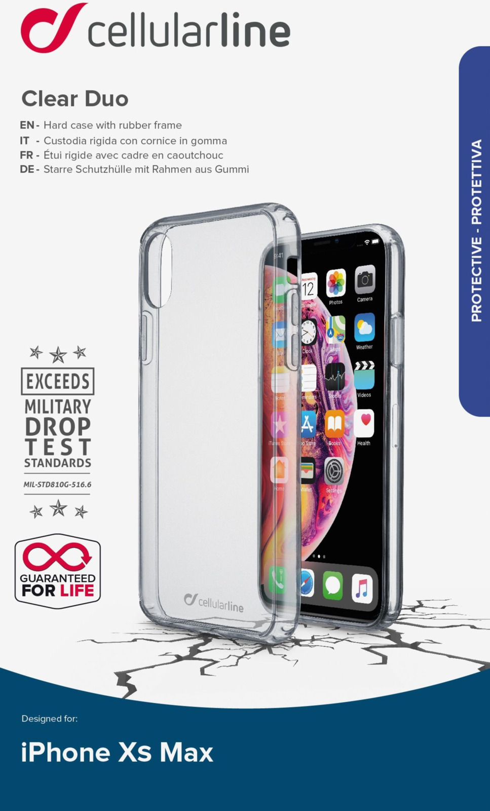 Фото - Чехол Cellularline для Apple iPhone XS Max, CLEARDUOIPHX65T, прозрачный чехол для iphone xs max cellularline clear duo прозрачный