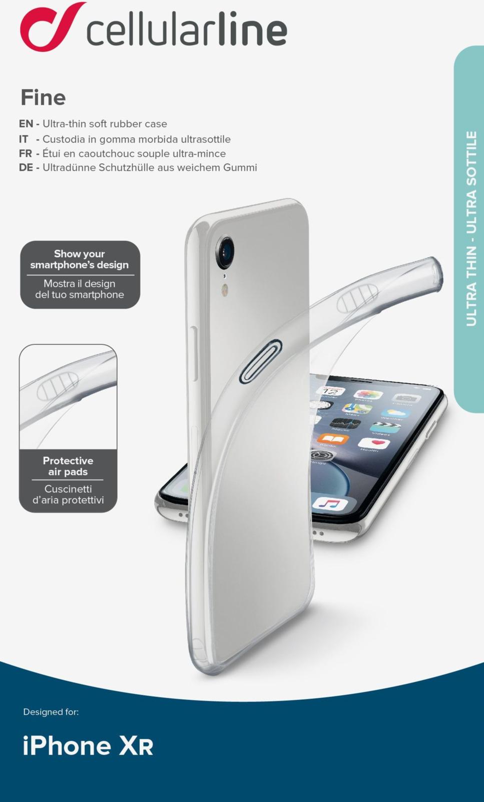 Фото - Чехол Cellularline для Apple iPhone XR, FINECIPH961T, прозрачный чехол для iphone xs max cellularline clear duo прозрачный