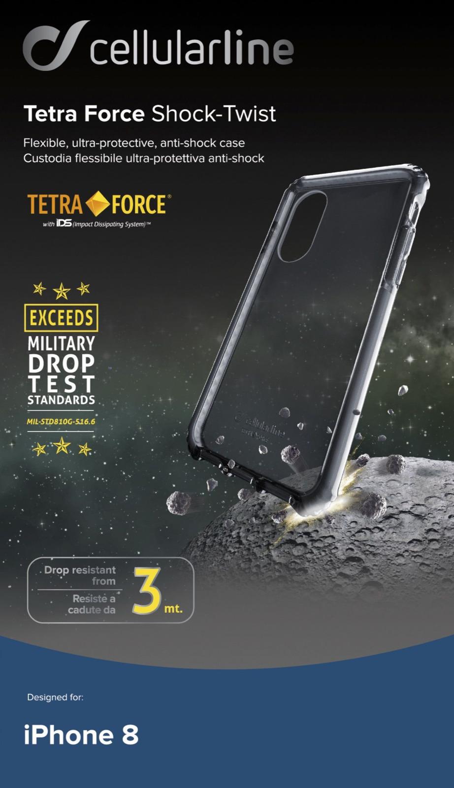 Чехол Cellularline для Apple iPhone X, TETRACASEIPH8K, черный чехол cellularline для apple iphone x bookagendaiph8k черный