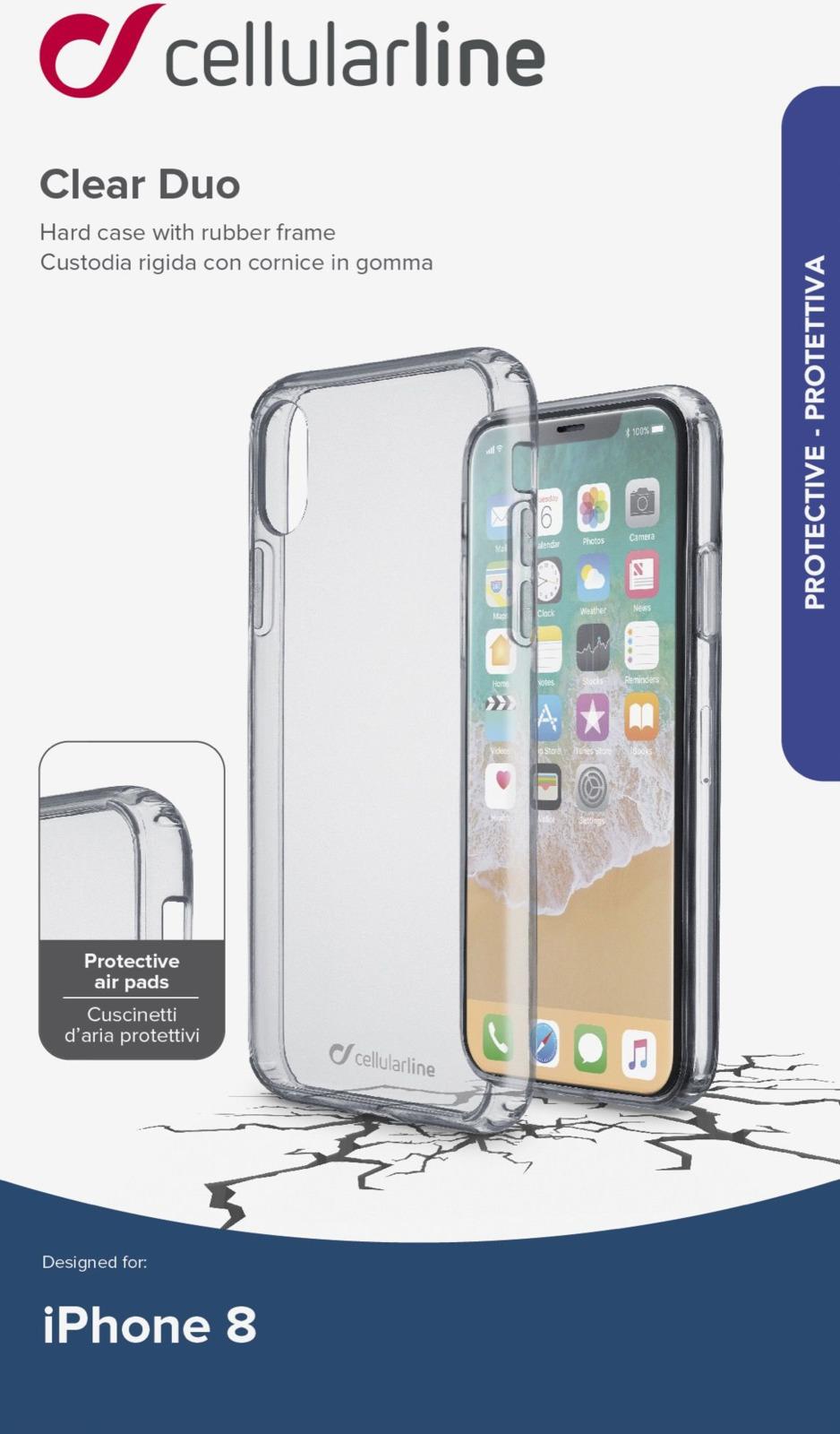 Чехол Cellularline для Apple iPhone X, CLEARDUOIPH8T, прозрачный