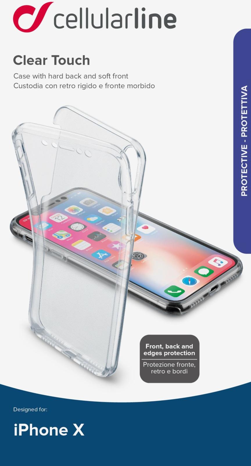 Чехол Cellularline для Apple iPhone X, CLEARTOUCHIP8XT, прозрачный чехол cellularline для apple iphone x bookagendaiph8k черный
