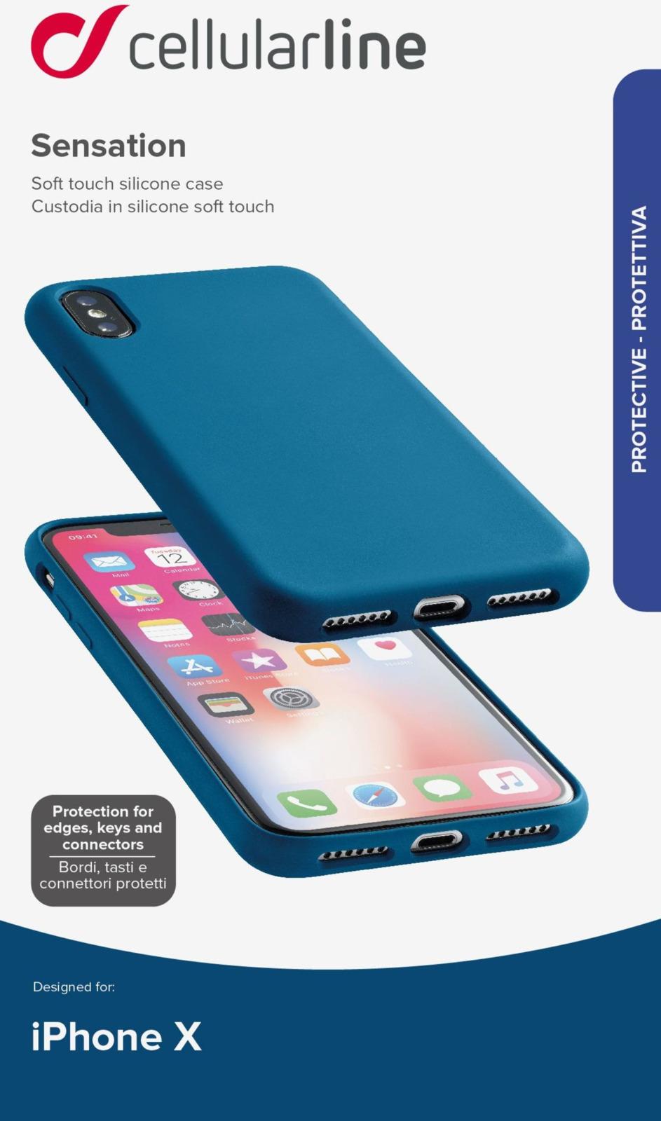 Чехол Cellularline для Apple iPhone X, SENSATIONIPH8XB, синий чехол cellularline для apple iphone x bookagendaiph8k черный