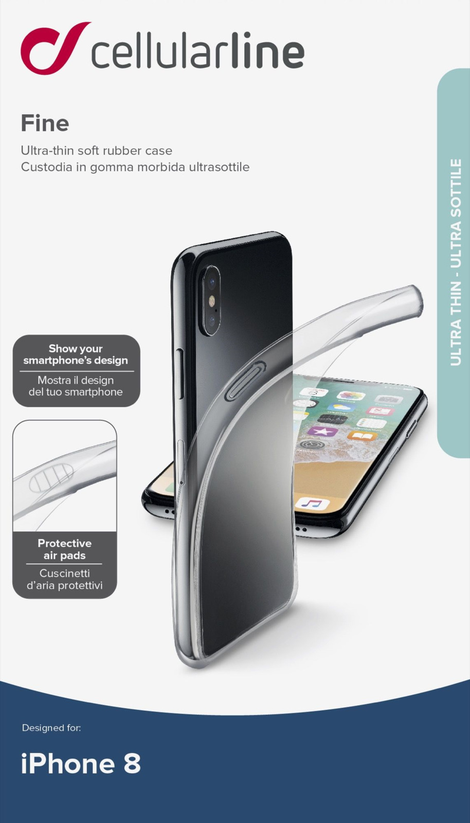 Чехол Cellularline для Apple iPhone X, FINECIPH8T, прозрачный