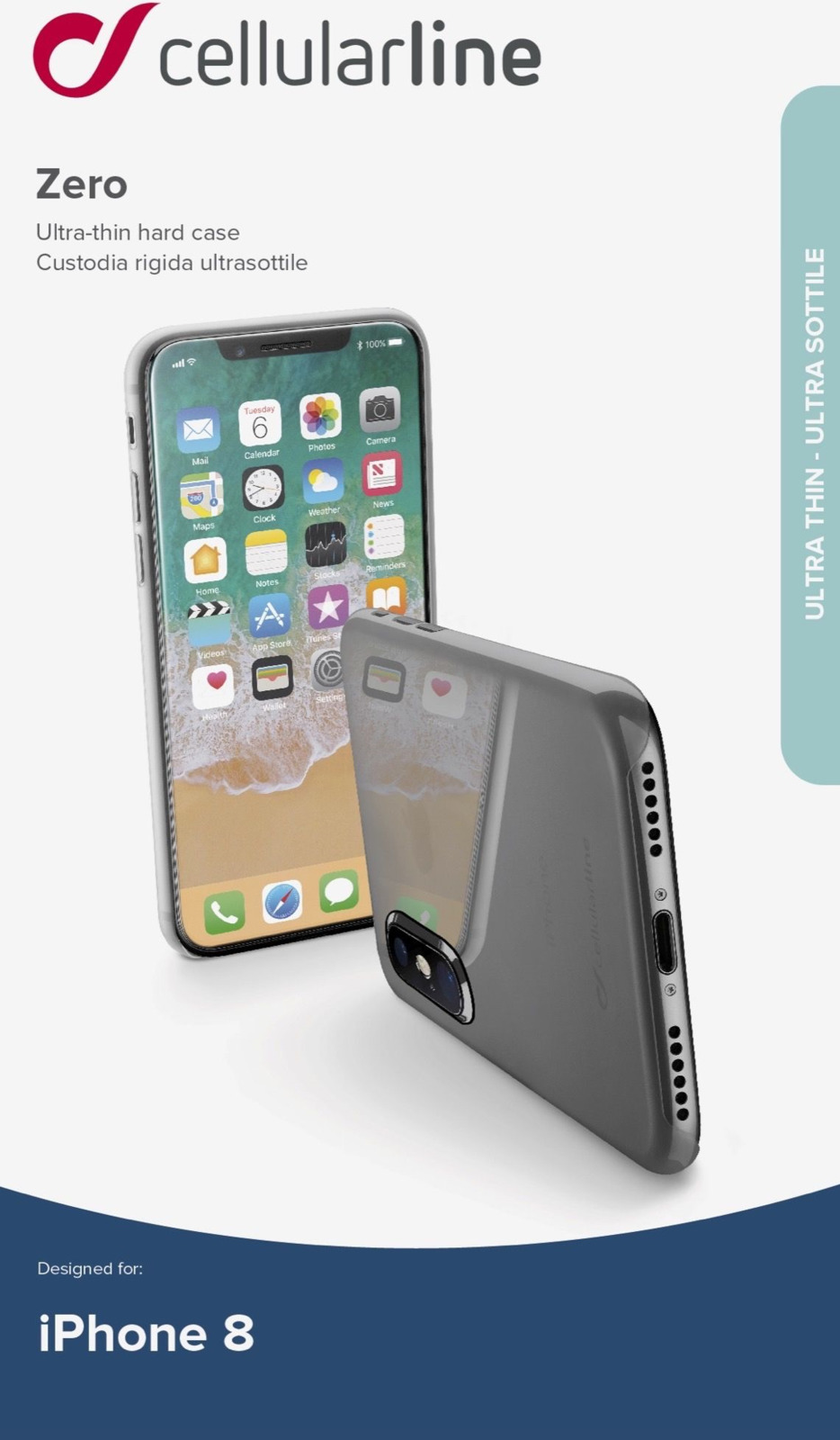 Чехол Cellularline для Apple iPhone X, ZEROIPH8T, прозрачный цена