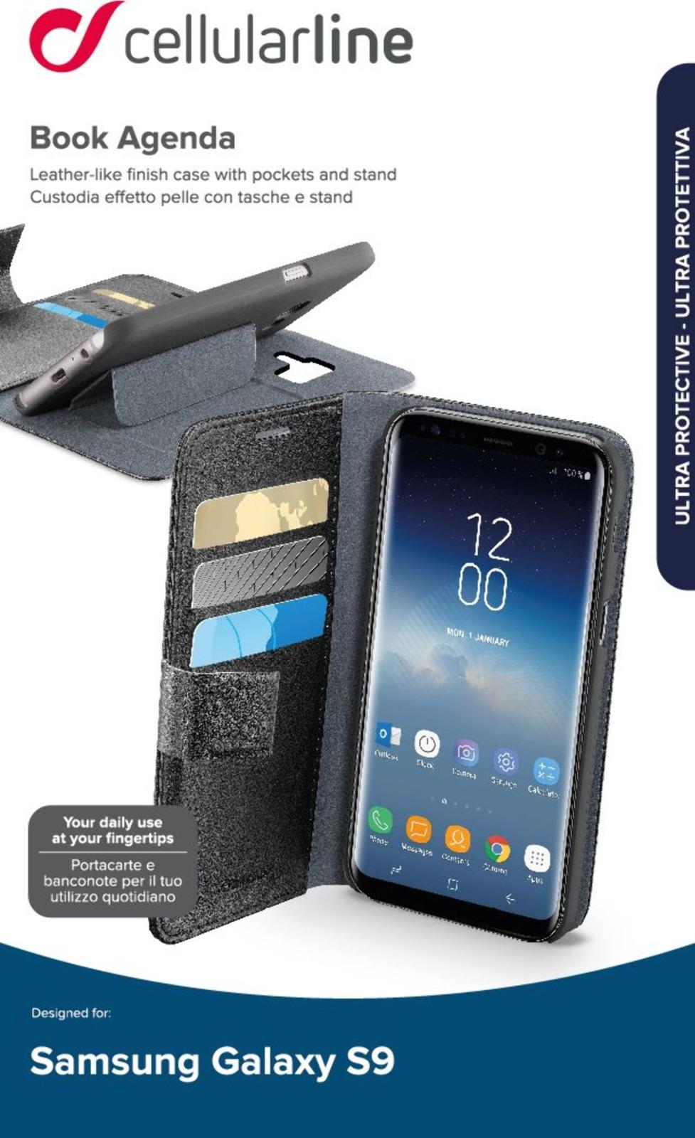 Чехол Cellularline для Samsung Galaxy S9, BOOKAGENDAGALS9K, черный