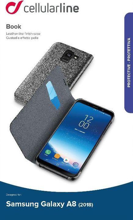 Чехол Cellularline для Samsung Galaxy A8 (2018), BOOKESSENGALA818K, черный чехол книжка cellularline samsung galaxy a8 black