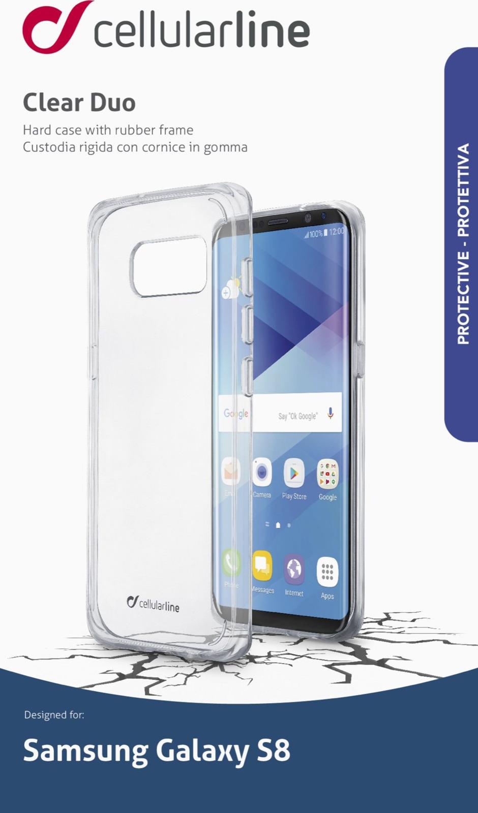 Чехол Cellularline для Samsung Galaxy S8, CLEARDUOGALS8T, прозрачный чехол samsung eb wg95ebbrgru для samsung galaxy s8 защитное стекло черный