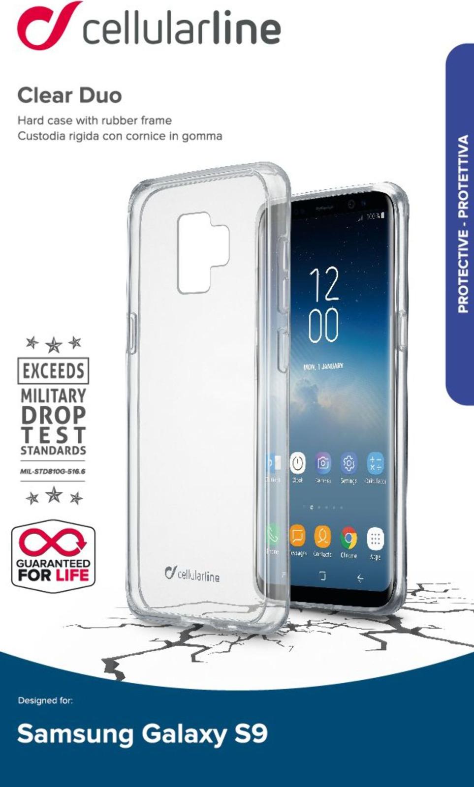 Чехол Cellularline для Samsung Galaxy S9, CLEARDUOGALS9T, прозрачный стоимость