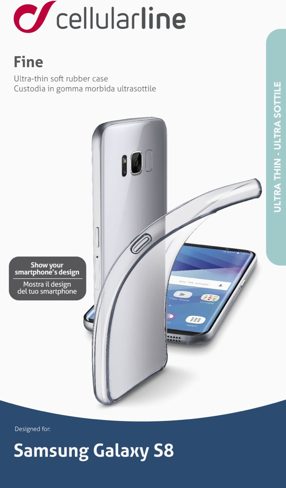 Чехол Cellularline для Samsung Galaxy S8, FINEGALS8T, прозрачный стилус other apple ipad samsung galaxy s3 i9300 21 eg0628