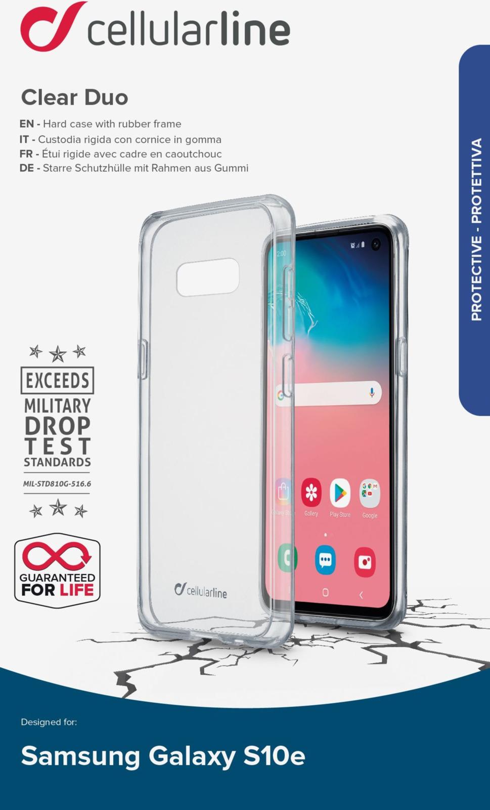 Чехол Cellularline для Samsung Galaxy S10 Lite, CLEARDUOGALS10LT, прозрачный чехол для samsung galaxy s8 cellularline clear duo прозрачный