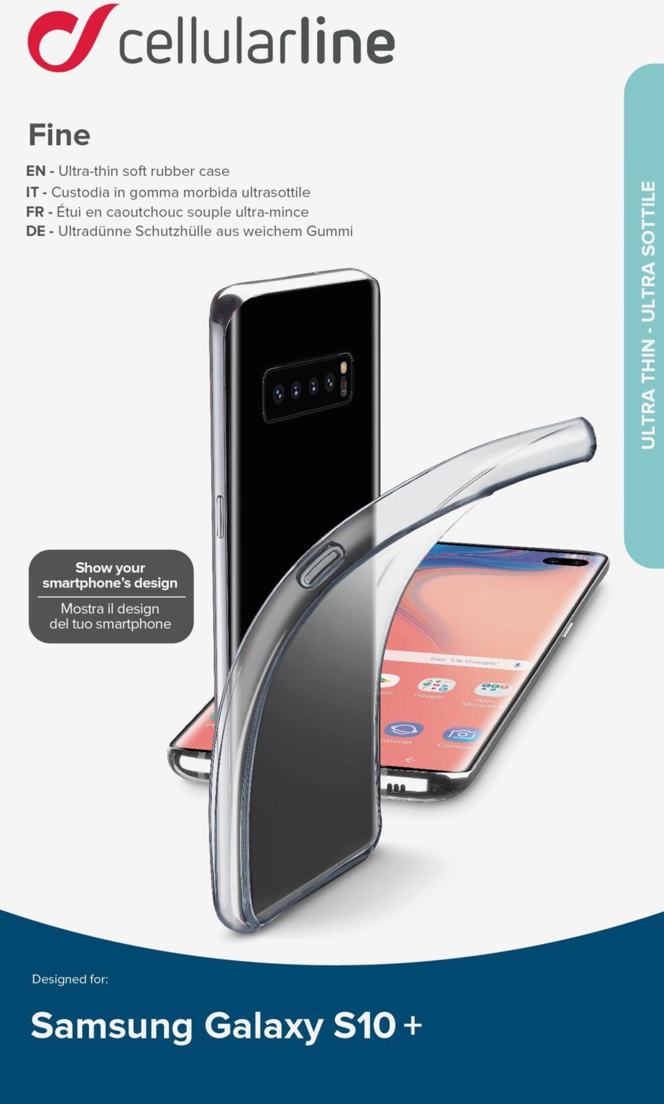 Чехол Cellularline для Samsung Galaxy S10+, FINECGALS10PLT, прозрачный стоимость