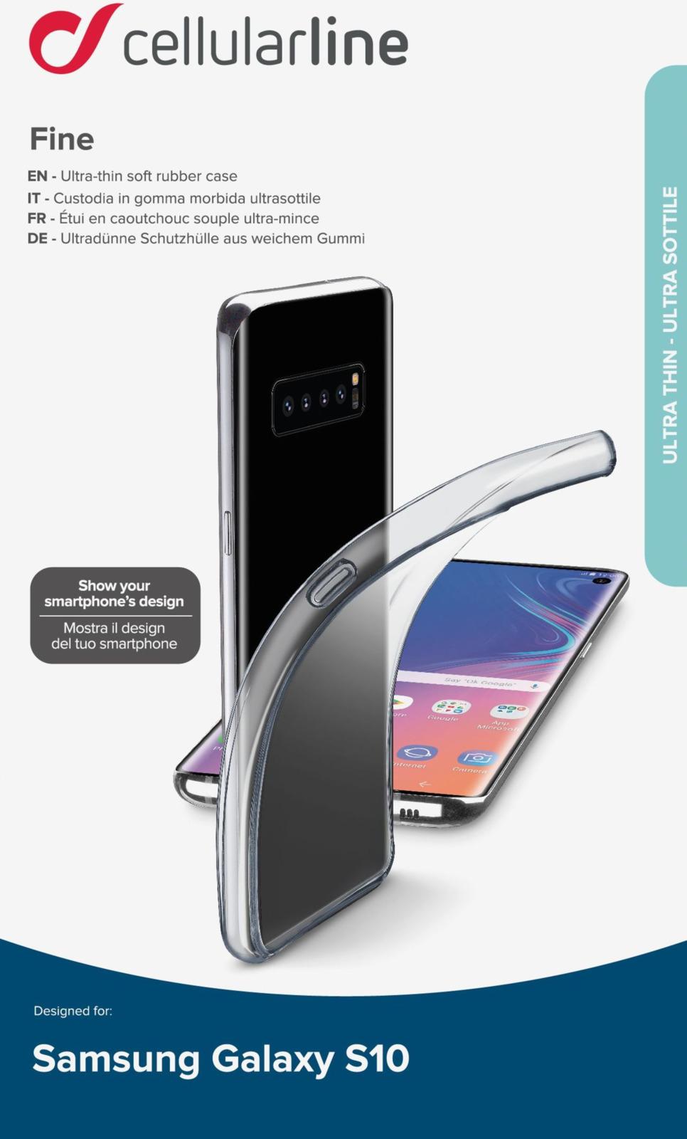 Чехол Cellularline для Samsung Galaxy S10, FINECGALS10T, прозрачный чехол для samsung galaxy s8 cellularline clear duo прозрачный