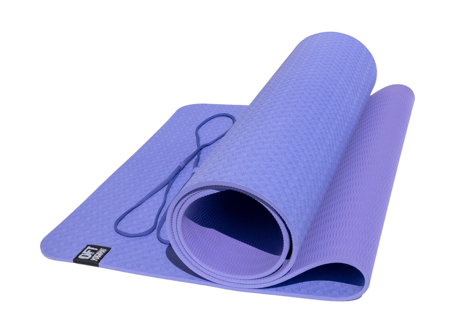 Коврик для йоги и фитнеса Original FitTools FT-YGM6-2TPE, фиолетовый, сиреневый коврик для йоги и фитнеса profi fit 6 мм стандарт серый