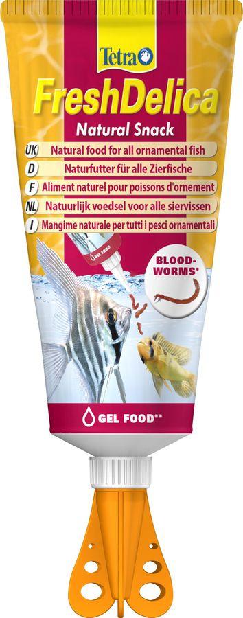 Корм сырой для рыб Tetra FreshDelica Bloodworms, мотыль в желе, 80 г мотыль для рыбок