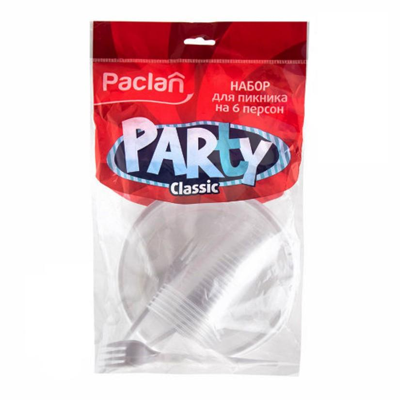 Набор пластиковой одноразовой посуды для пикника на природе, дома, дачи на 6 персон (18 предметов), белого цвета: стаканы, тарелки, вилки, пластик пищевой безопасный, ГОСТ, Paclan paclan party набор для пикника на 6 персон тарелки 170мм 6шт стаканы 200мл 6шт вилки 6шт