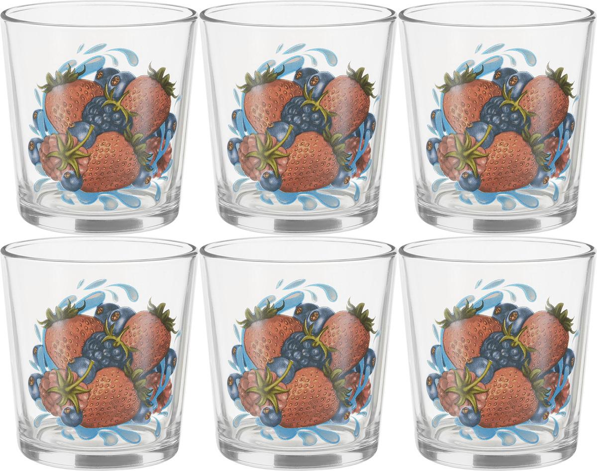 Набор стаканов ОСЗ Ода Ягодный микс К, 250 мл, 6 шт набор питьевой ягодный фреш подсолнух 7пр кувшин 1 5л 6 стаканов 250 мл стекло в ассортименте