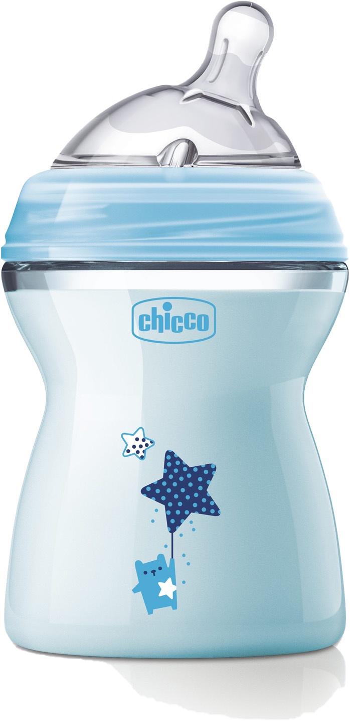 Бутылочка для кормления Chicco Natural Feeling голубой для кормления новорожденных