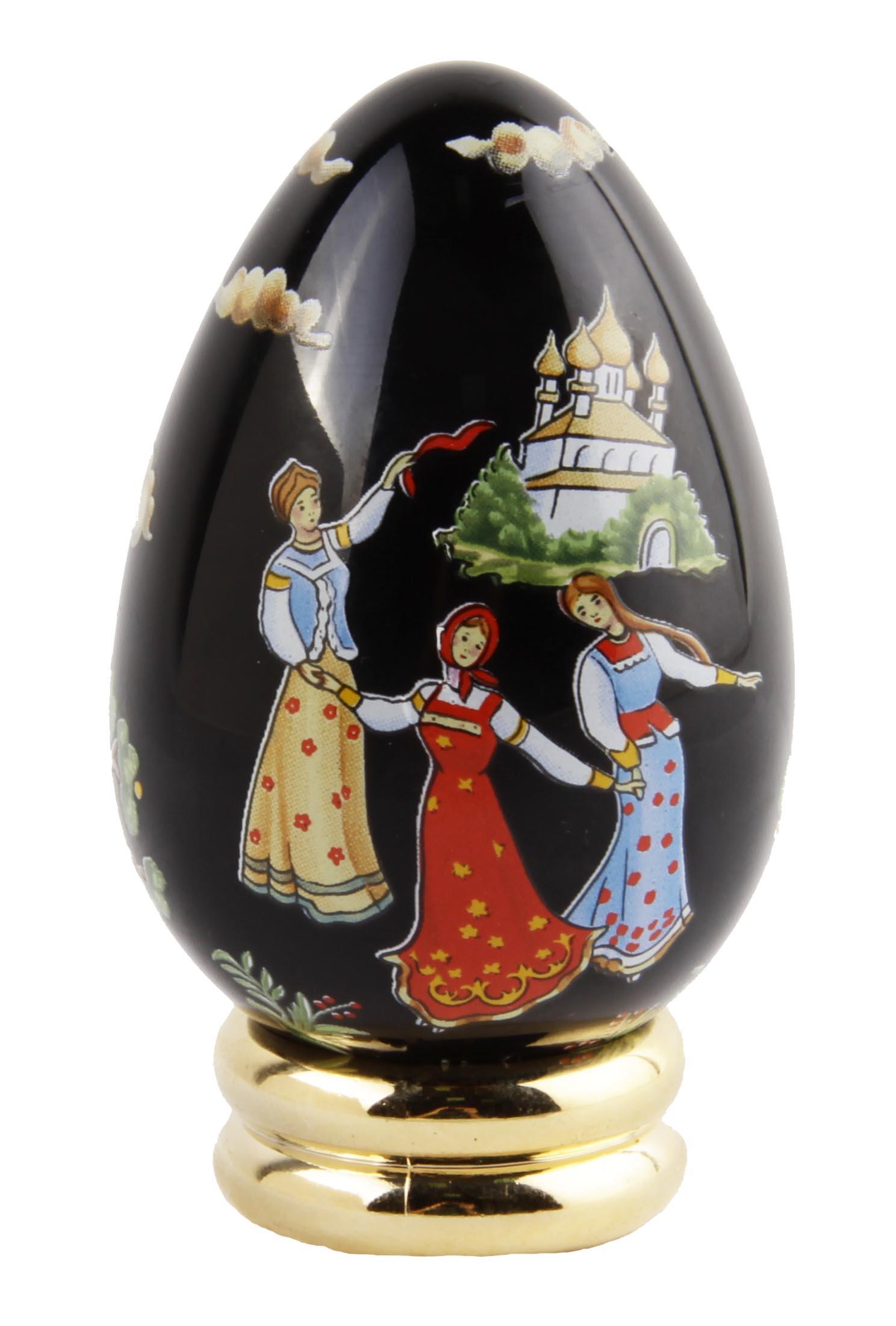Яйцо декоративное Franklin Mint Палех, черный, золотой, красный, коричневый, светло-коричневый, зеленый, голубой, белый, оранжевый композиция franklin mint чубушник сноубель зеленый белый светло коричневый