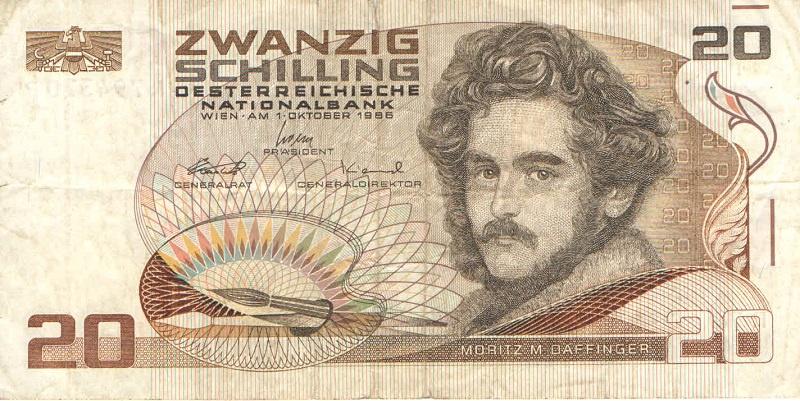 Банкнота номиналом 20 шиллингов. Австрия. 1986 год банкнота австрия р75