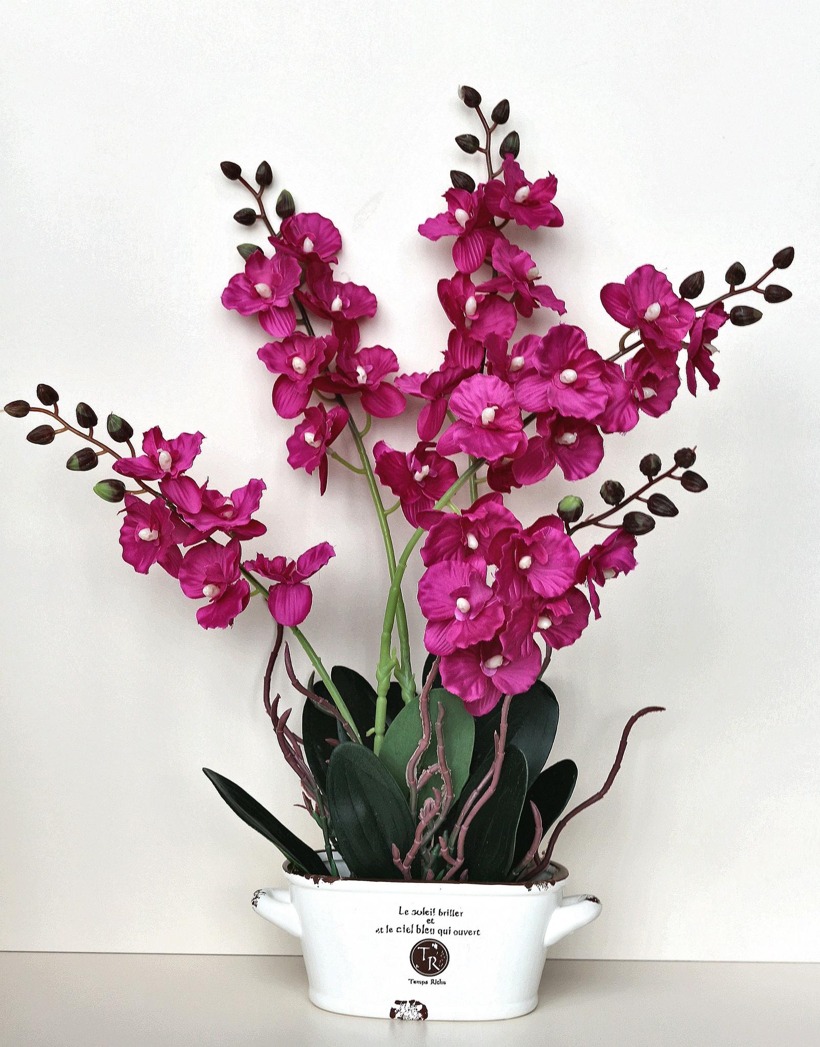 Искусственные цветы 403206, бордовый emo 02 композиция из натуральных орхидей