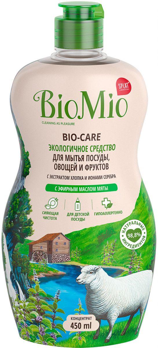 Средство для мытья посуды BioMio овощей и фруктов, с эфирным маслом мяты, 450 мл