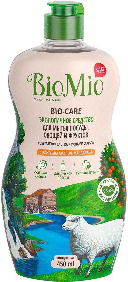 Средство для мытья посуды BioMio овощей и фруктов, с эфирным маслом мандарина, 450 мл