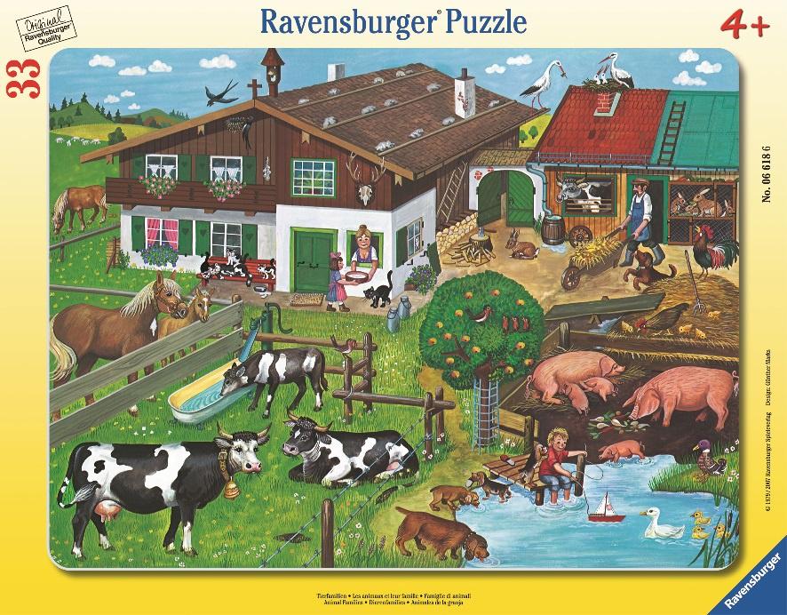 Пазл для малышей RAVENSBURGER Пазл Животные на ферме 33 шт рамка арт. 6618 пазл контур для малышей домашние животные в к 27 5 20 4 см