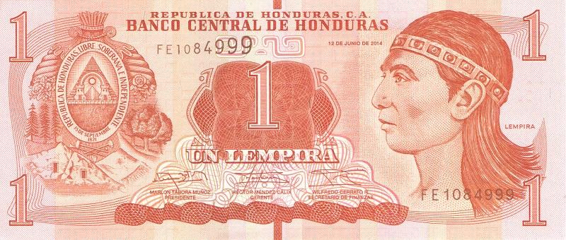 Банкнота номиналом 1 лемпира. Гондурас. 2014 год цена