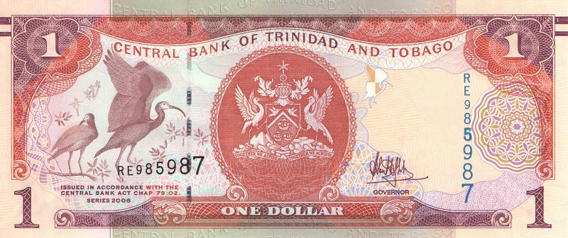 Банкнота номиналом 1 доллар. Тринидад и Тобаго (тип 3). 2006 год банкнота номиналом 1 крузейро подпись тип 2 бразилия 1954 1958 года