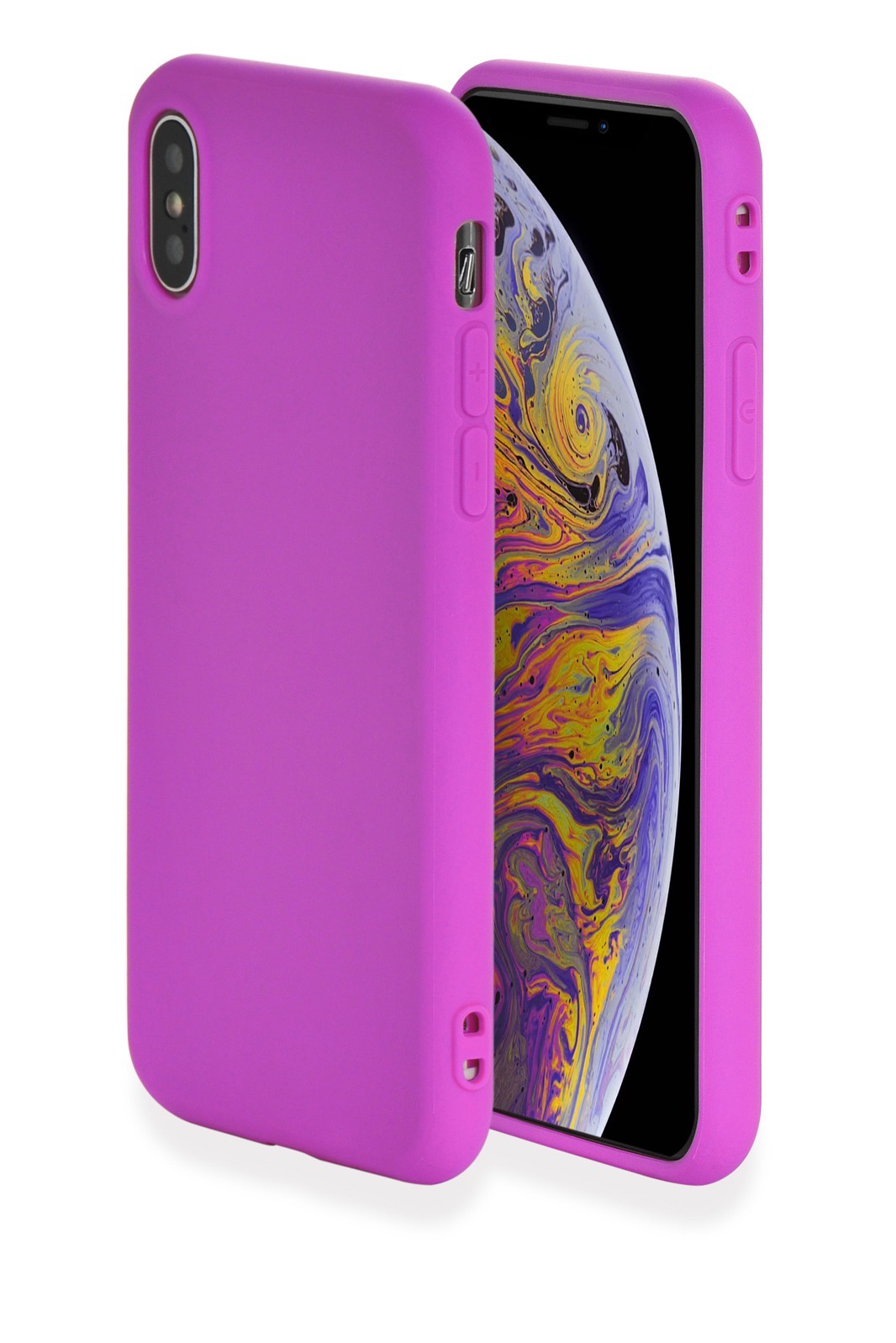 "Чехол для сотового телефона Gurdini Чехол накладка Soft Lux силикон (4) для Apple iPhone XS Max 6.5"",907118, пурпурный, темно-розовый"