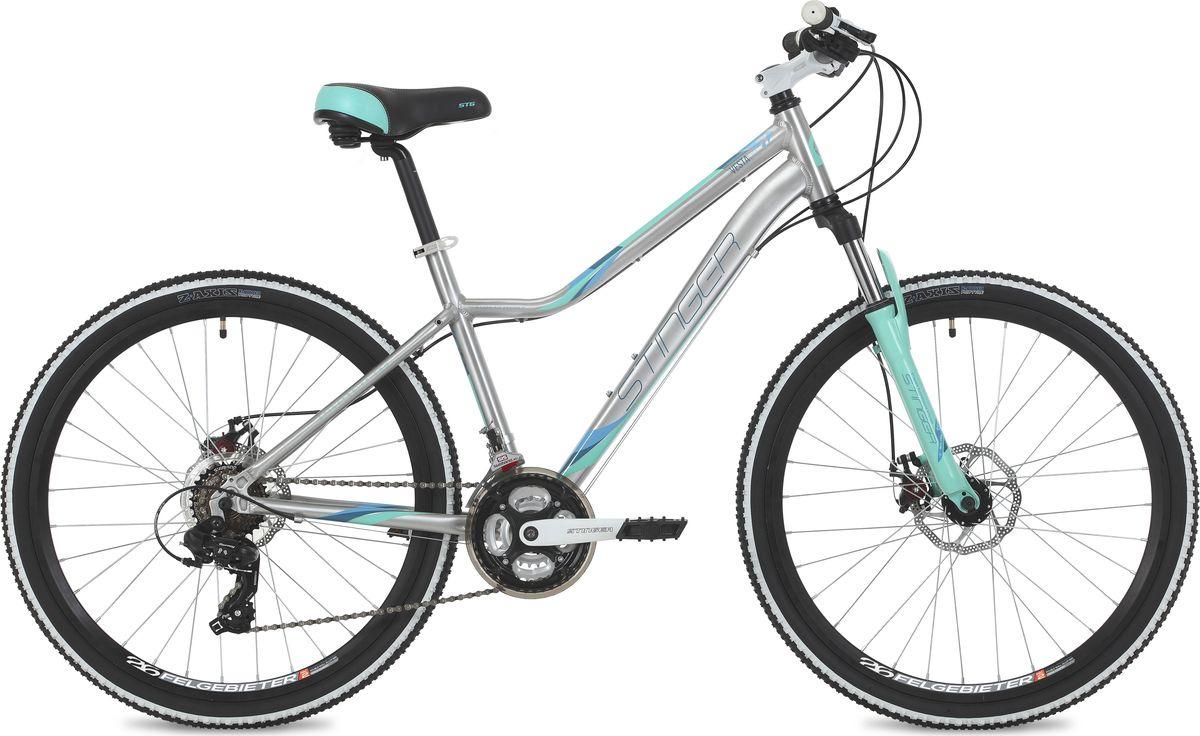 Велосипед горный Stinger Vesta Evo, колесо 26, рама 15, 26AHD.VESTAEVO.15SL9, серебристый велосипед stinger vesta evo 26 рама 15 сереброо