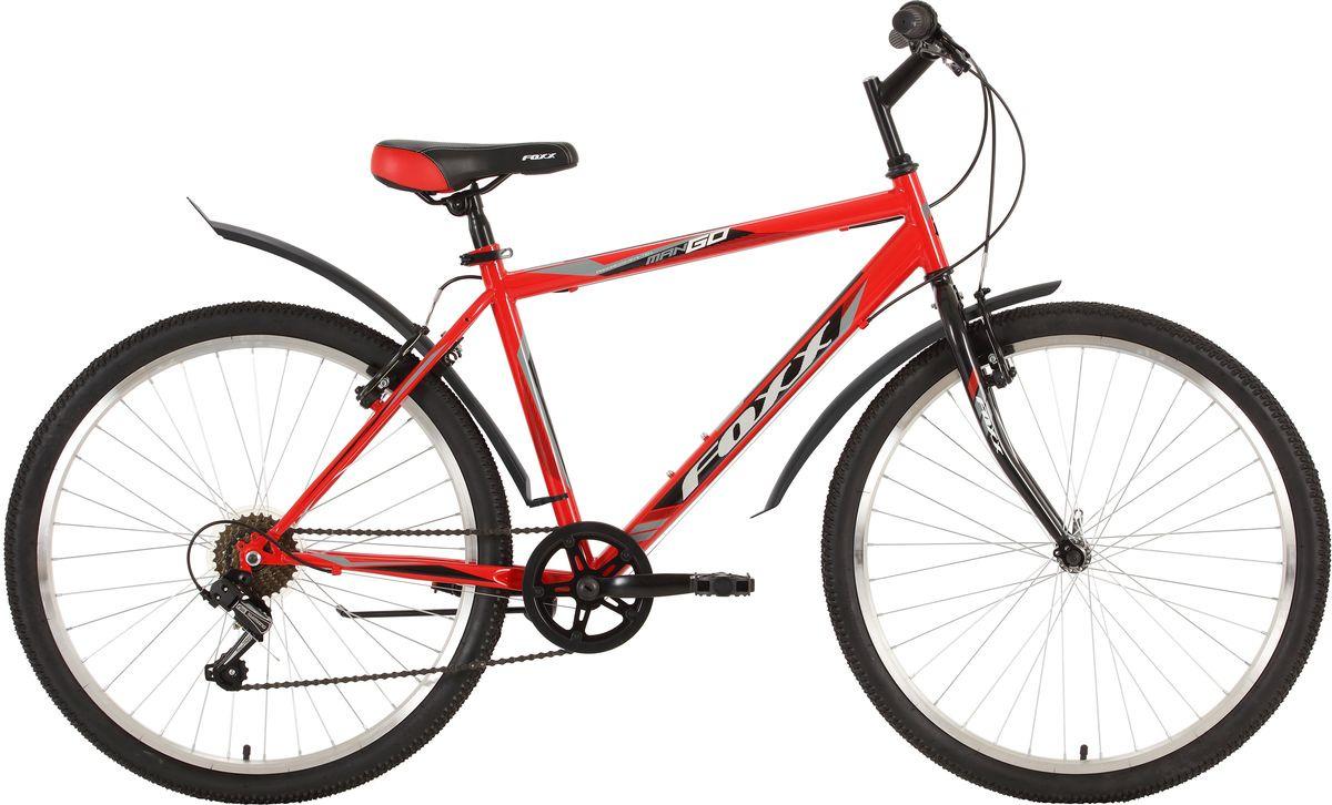 Велосипед горный Foxx ManGo, колесо 26, рама 18, 26SHV.MANGO.18RD9, красный велосипед горный foxx mango колесо 24 рама 12 24shv mango 12or9 оранжевый