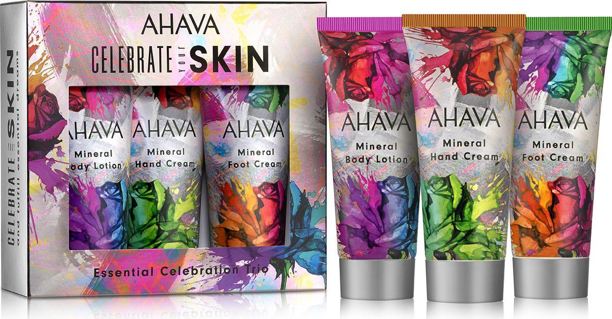 Набор косметики для ухода за кожей Ahava Deadsea Water Body Trio Минеральный крем для тела, 100 мл + Минеральный крем для рук, 100 мл + Минеральный крем для ног, 100 мл