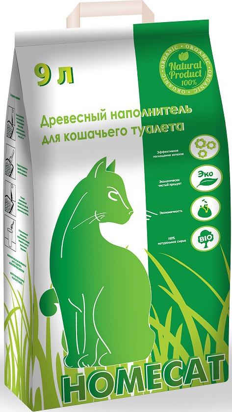 Наполнитель для кошачьего туалета Homecat, древесный, 9 л наполнитель для кошачьего туалета vitaline из лиственных пород древесины 4 5 л