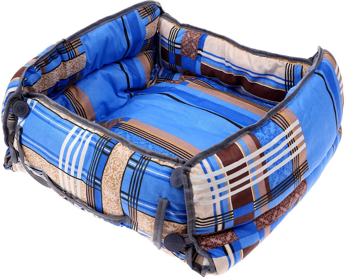 Лежак для животных ЗооМарк Конверт Клетка, Д-08КС, синий, 50 х 50 х 15 см лежак для животных зоомарк самобранка цвет синий 74 х 55 х 10 см