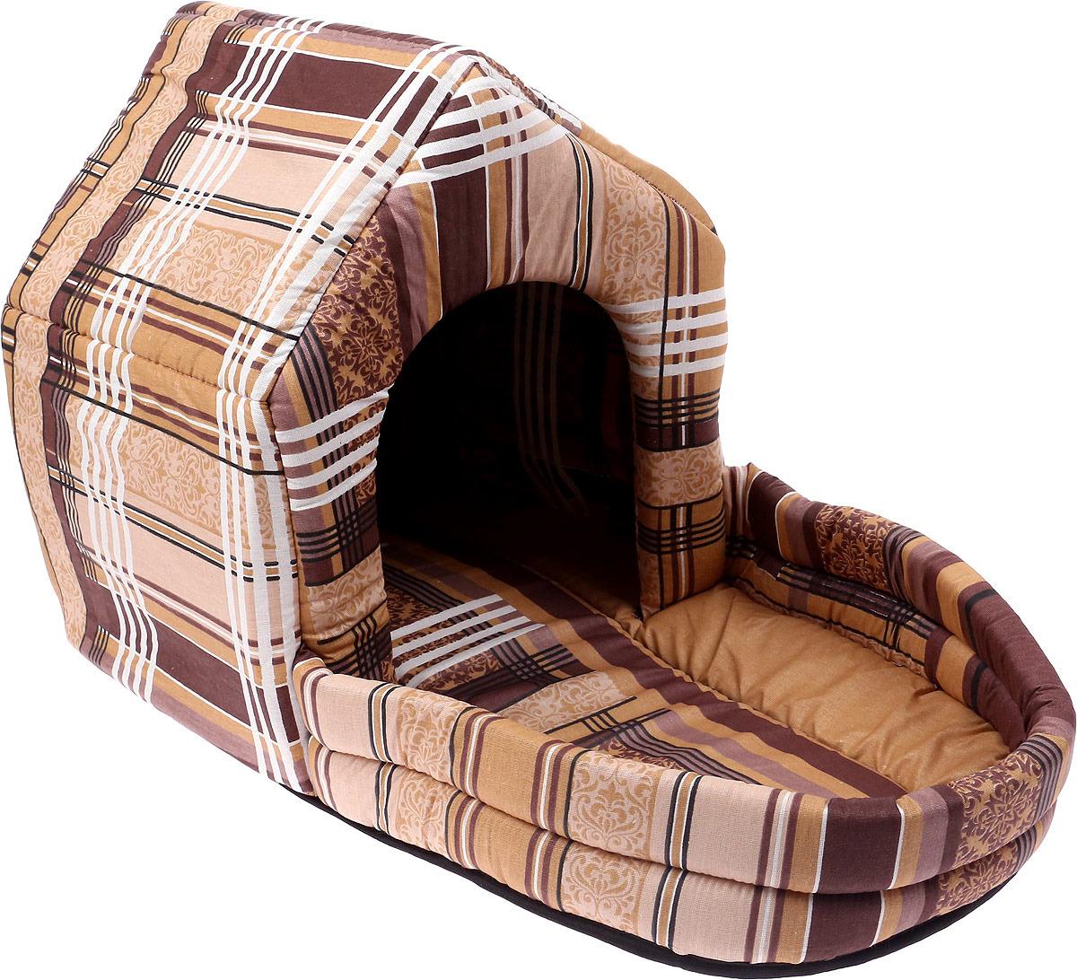 Лежак для животных ЗооМарк Домик Клетка, с площадкой, ДП-1КБ, бежевый, 65 х 33 х 38 см цена