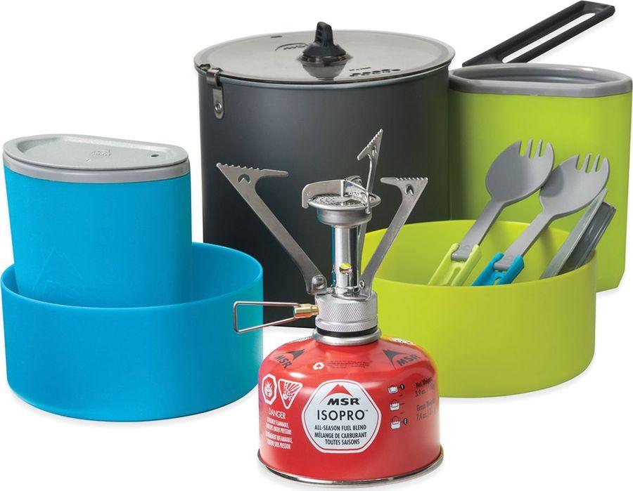 Набор походный MSR Горелка + посуда PocketRocket Stove Kit, 09567, серый, зеленый, голубой