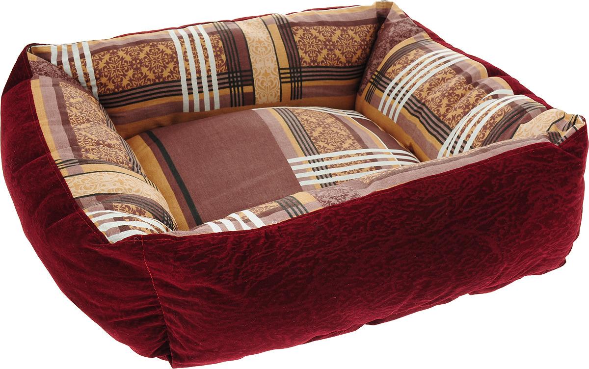 Лежак для животных ЗооМарк Стамбул, квадратный, Л-32СС, синий, 50 х 50 х 21 см лежак для животных зоомарк самобранка цвет синий 74 х 55 х 10 см