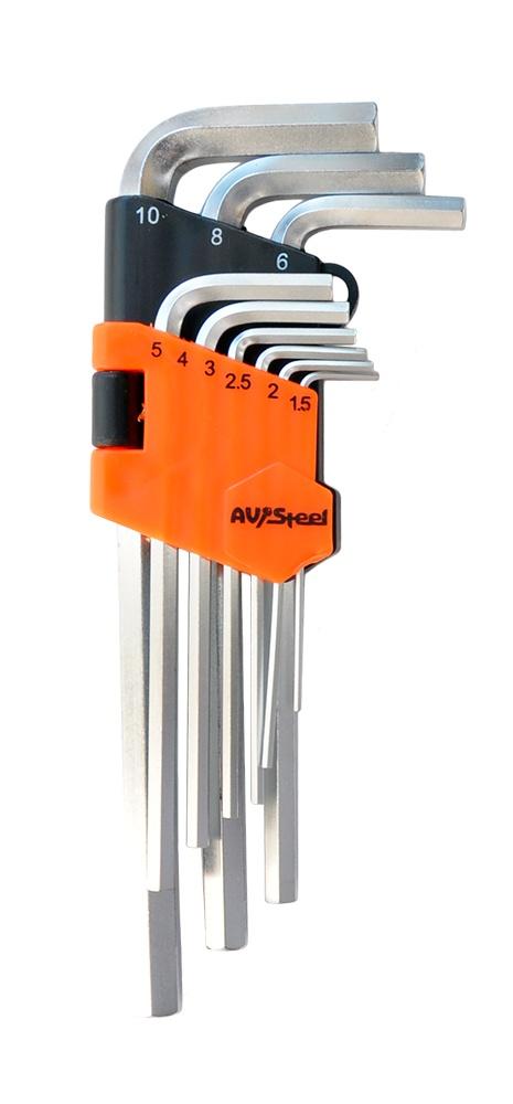 Набор ключей AV Steel AV-362109 набор ключей rock force rf 5093l шестигранных удлиненных 1 5 10мм 9пр 1 25 50