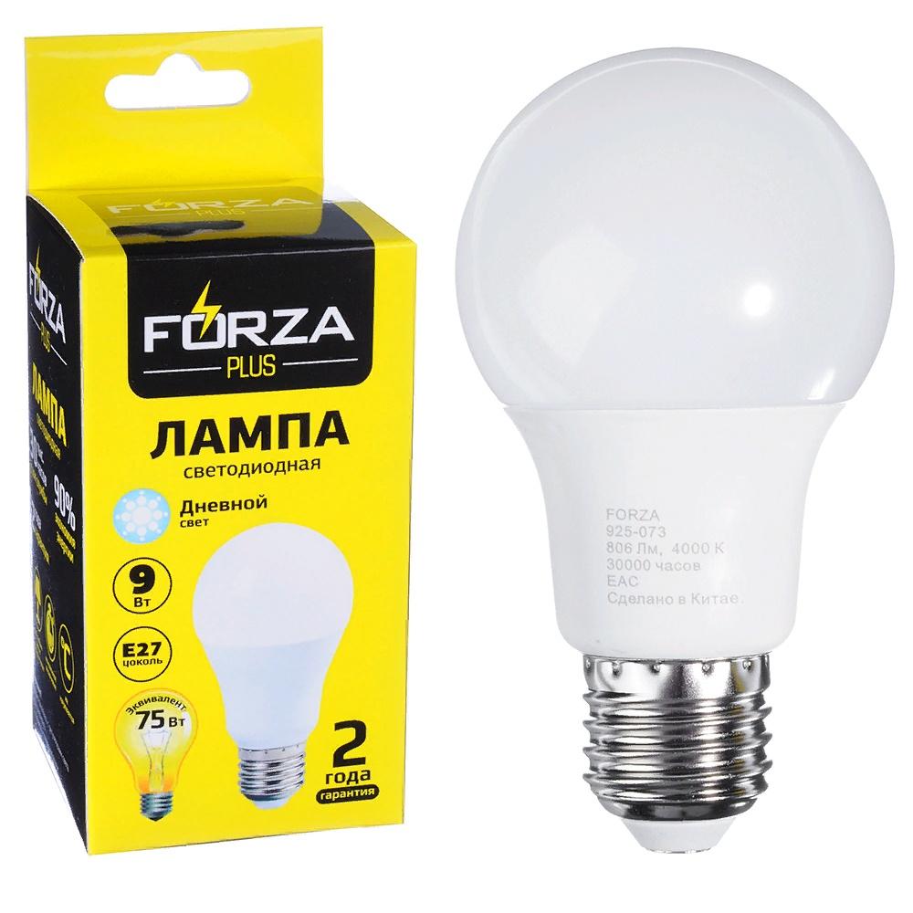 """Лампочка FORZA """"А60"""", 9W, E27, 806lm, 4000K, белый свет, аналог 75Вт"""