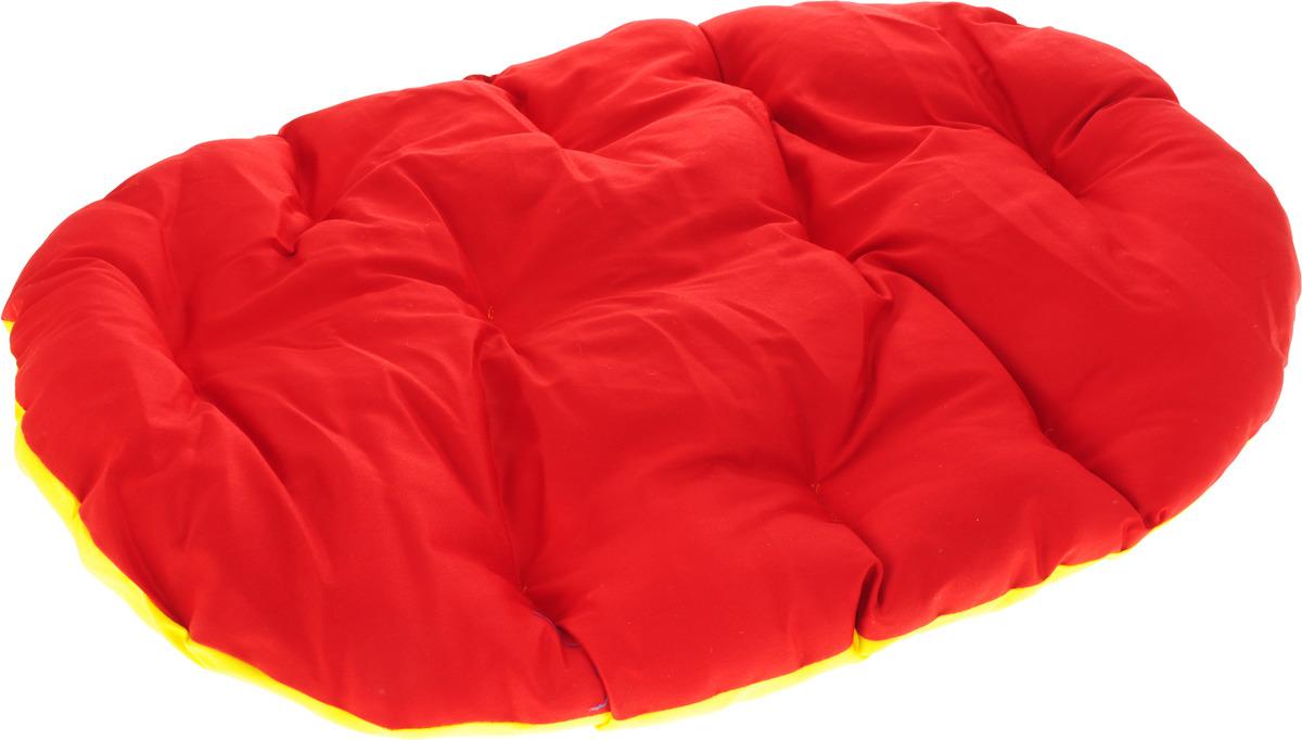 Лежак для животных ЗооМарк Перина Грета №1, ЛГ-1КЖ, красный, желтый, 50 х 40 х 8 см лежак для животных зоомарк перина грета 4 лг 4кж синий желтый 80 х 58 х 9 см
